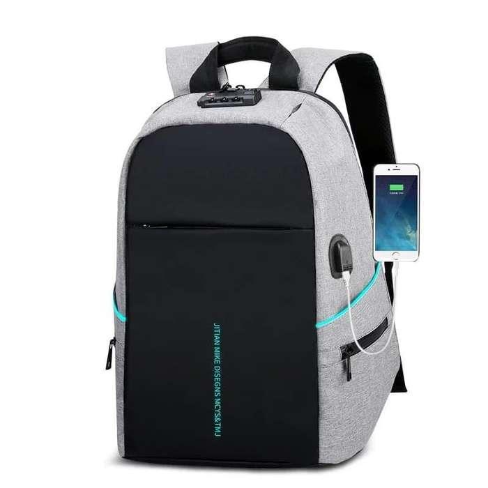 Mochila Antirobo, multifunción carga USB, Laptop