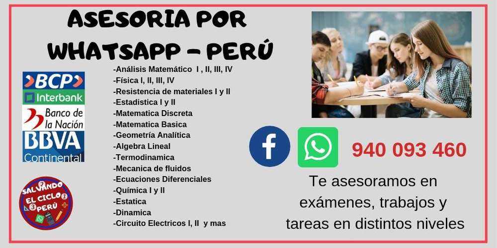 RESOLUCION DE EJERCICIOS POR WHATSAPP TAREAS , TRABAJOS AL INSTANTE DESDE S/ 1 SOL MATEMÁTICAS,CIENCIAS