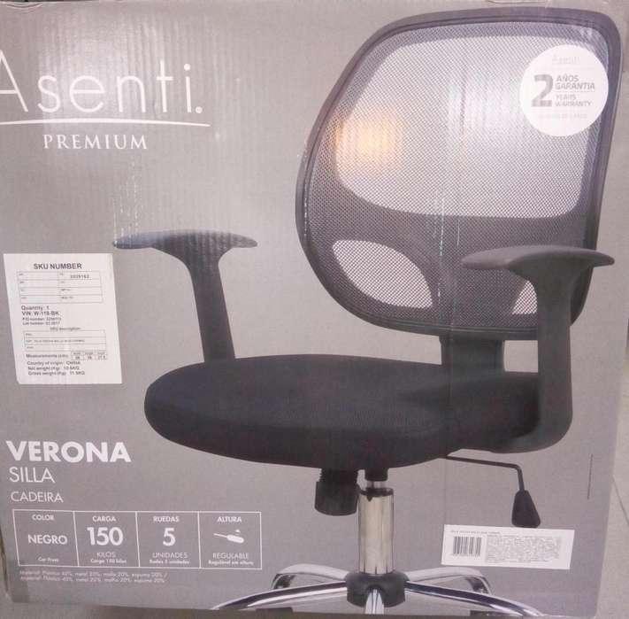 Silla Verona Marca Asenti Color Negro Nueva Y Sellada