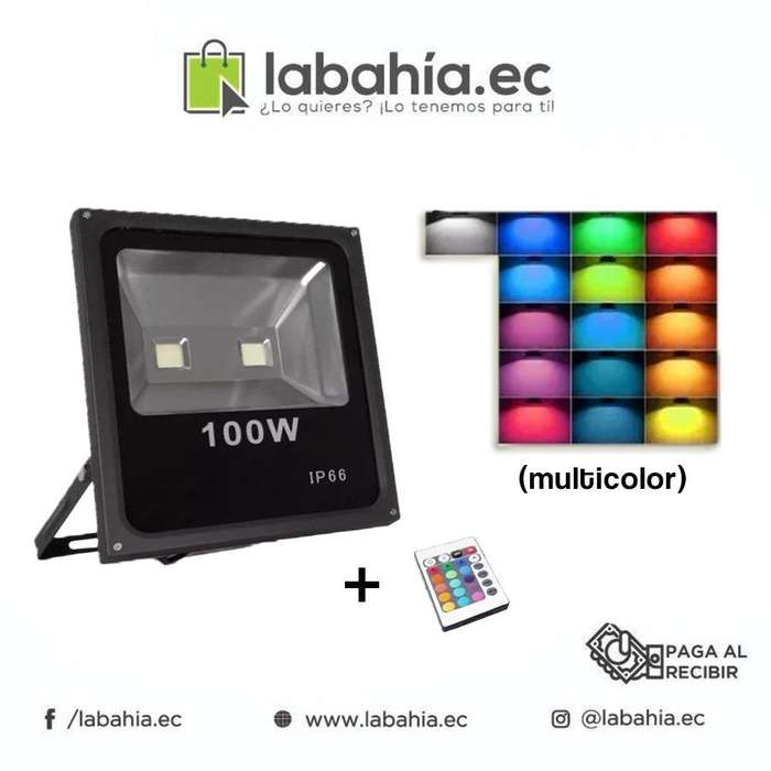 Reflector Led Rgb 100w Ip66 Multicolor Control 16 Colores