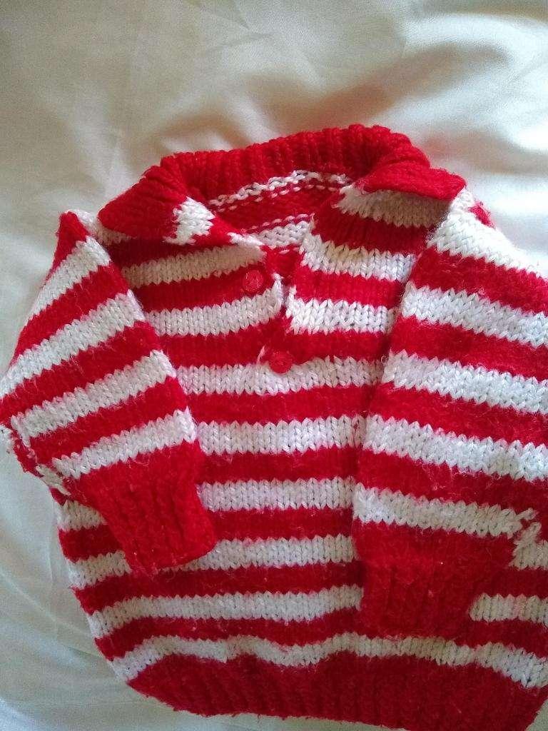 Pullovers Chomba Tejido Artesanal nuevo 2-3 Anos rojo blanco perfecto