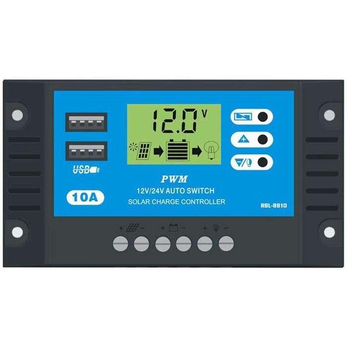 Controlador Carga Solar 10A 12V 24V LCD Doble USB