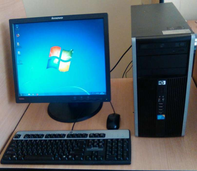 HP 6000 MT PC CORE 2 DUO, MONITOR LENOVO, TECLADO FLEXIBLE Y MOUSE USB MUY BUEN ESTADO EN FUNCIONAMIENTO 9/10