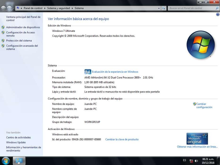 Computadora Dual Core 1gb de ram disco de 160gb windows 7