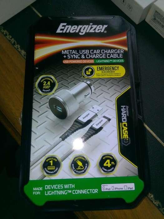 Cable iPhone Y Cargador Auto Energizer