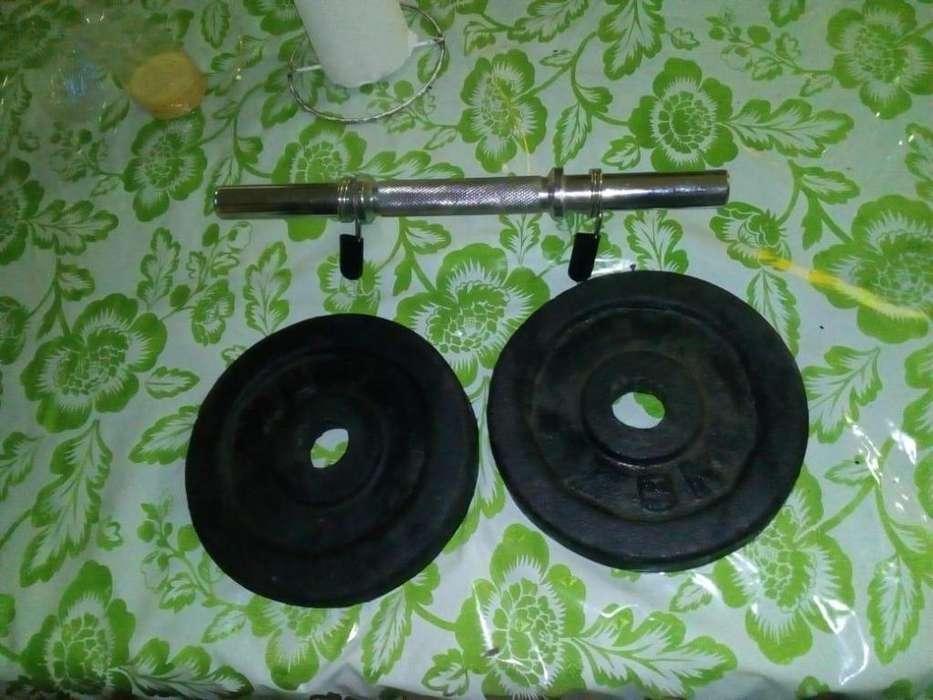 Mancuerna Cromada con Dos Discos de 5kg