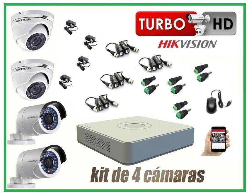 kit de 04 camaras de seguridad en HD hikvision CCTV01
