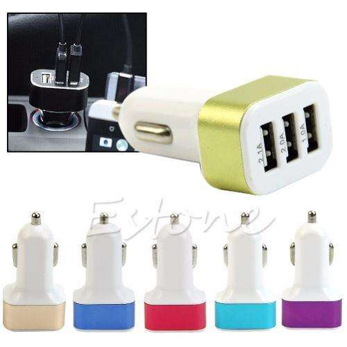 Adaptador Triple Usb Cargador Coche 1a 2a 2.1 Samsung Iphone