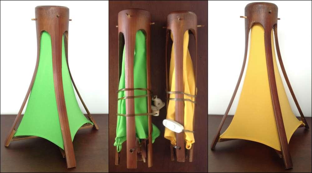 Lamparas de mesa en madera y tela con tonos únicos de iluminación