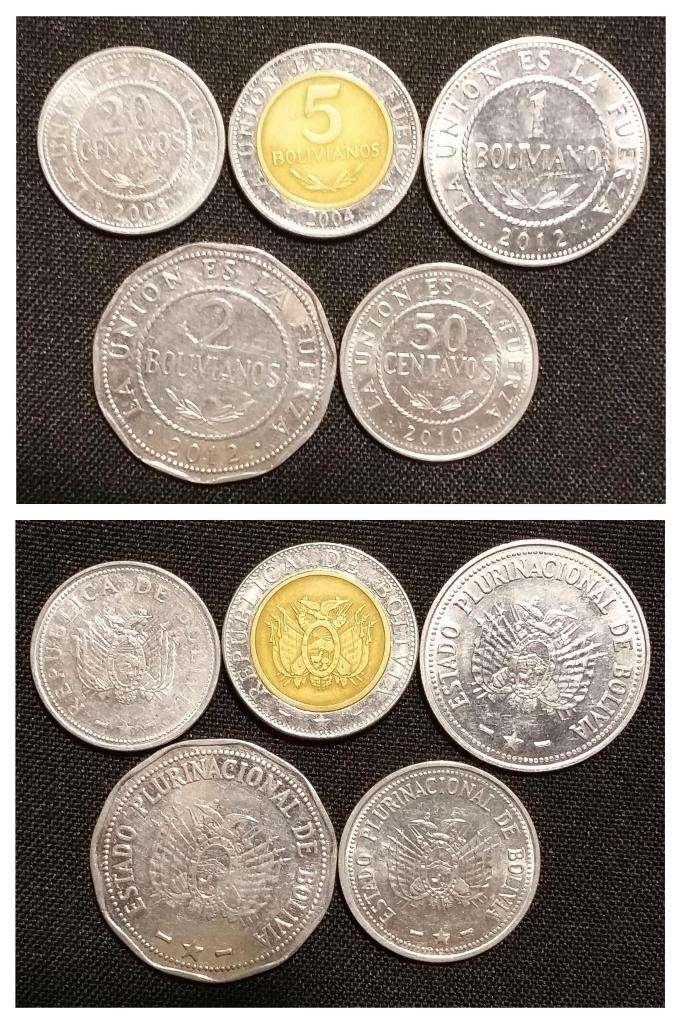 Lote x5 monedas de Bolivia  110