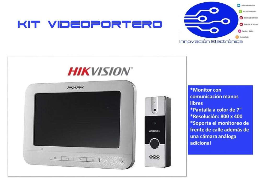 KIT Video Portero Hikvision Manos Libres Pantalla LCD a Color de 7