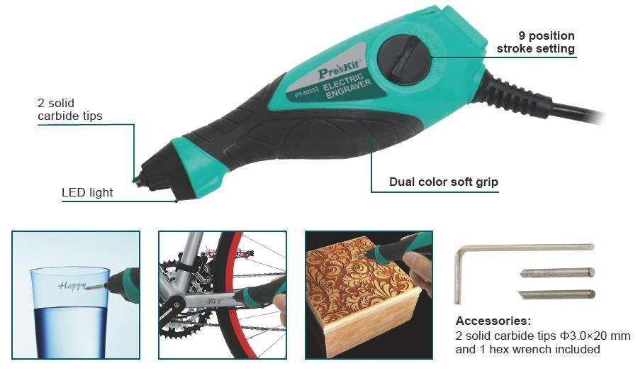 Grabador eléctrico , PARA METALES MADERA, VIDRIO ProsKit PT5203A