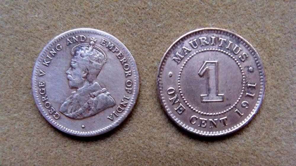 Moneda de 1 cent Isla Mauricio 1911