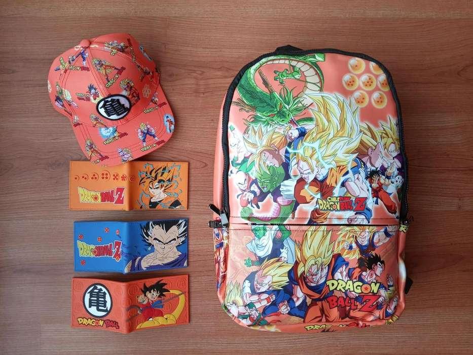 Combo Maleta, Gorra y Billetera de Dragon Ball o Superman