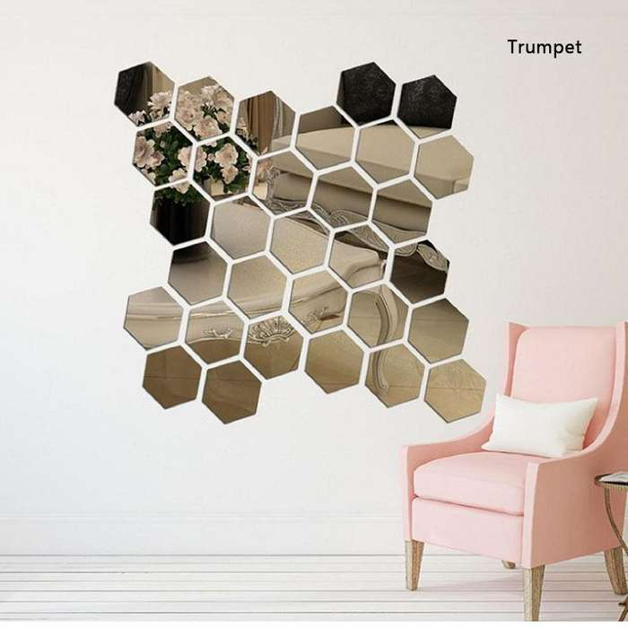 Espejo Vinilo Moda 3d Arte Decoración Desmontable 12pcs