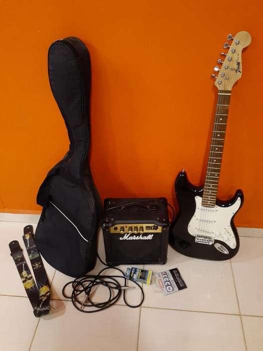 Guitarra Electrica con Todos Sus Accesor