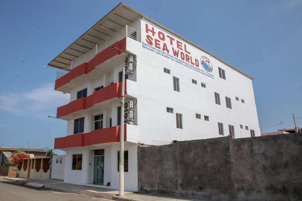 Hotel Sea World en el Balneario de San Jacinto, Parroquia Charapotó, Cantón Sucre, Provincia de Manabi