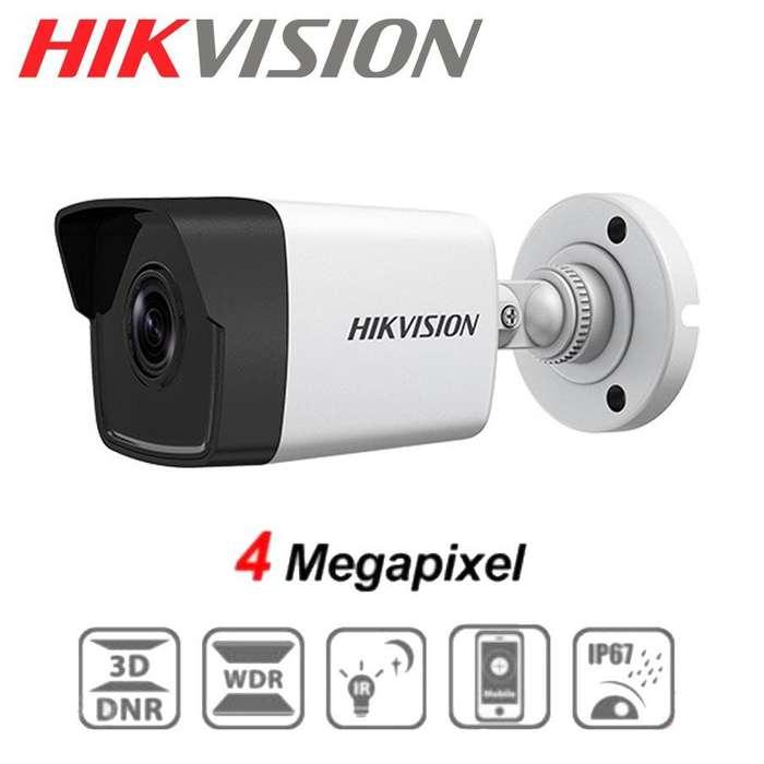 CAMARA IP DE VIGILANCIA HD TIPO BALA HIKVISION DS2CD1041I 4MP 2.8mm IP67 DIA Y NOCHE PoE
