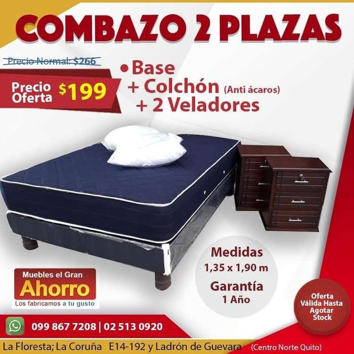 NO BUSQUES MÁS Y LLEVATE Base 2 Plazas MAS Colchón Anti Acaros MAS 2 Veladores *WSP 0998677208*
