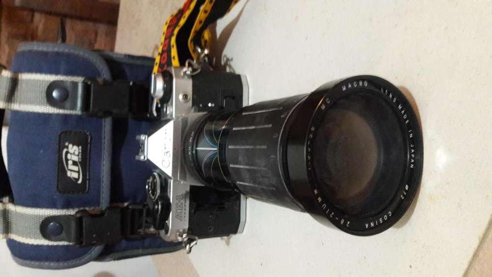 Camara Canon, Lente, Flash Metz, Estuche