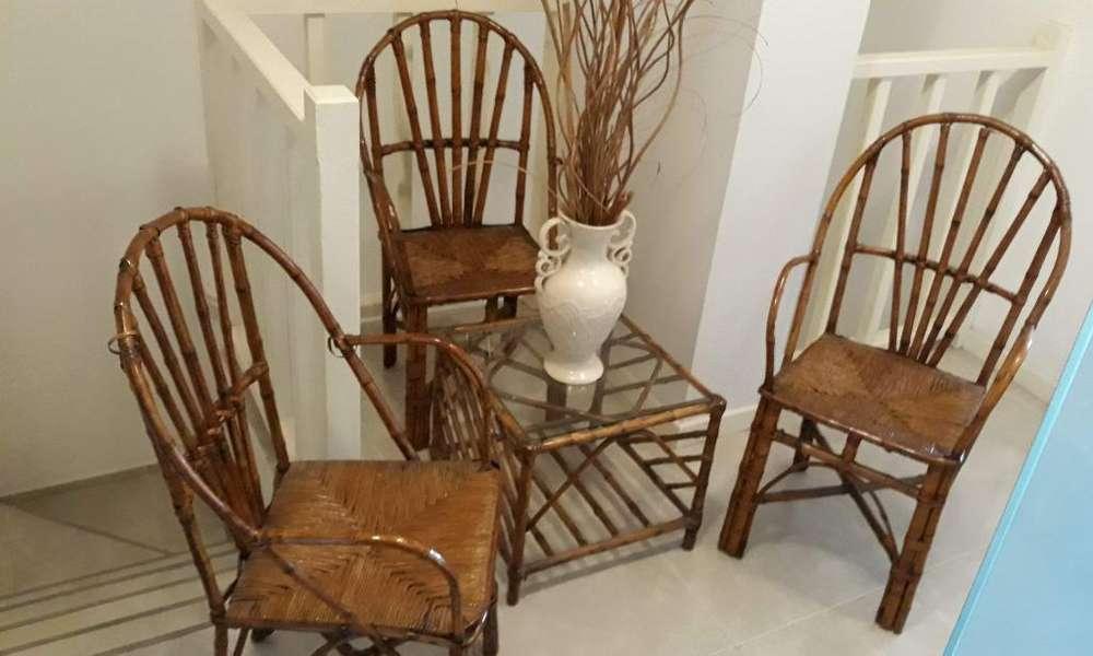 4 <strong>sillas</strong> Y Mesa Ratona de Mimbre