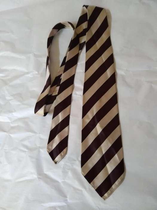 corbata seda beige y marron brillante ancho 8,5 perfecta