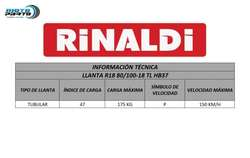 LLANTA RINALDI Motocicleta R18 80/100/18 HB37 PISTA