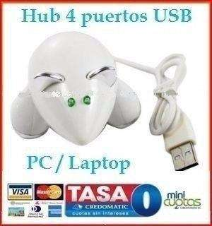 Hub Ratón Blanco 4 Puertos Usb Mini Laptop Pc Mac Galaxy New