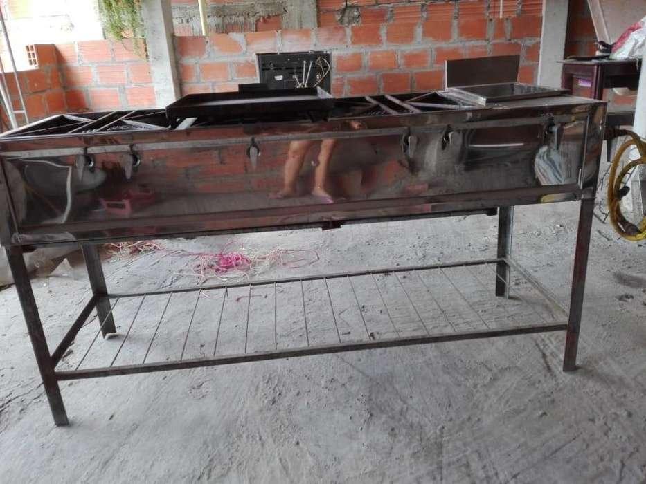 Cocina industrial horno de pollo horno de pizza y rollera