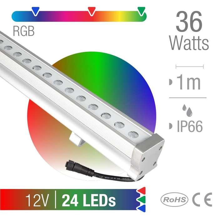 Bañador LED 36W RGB 30 12V 24x1,5W IP66 x1m