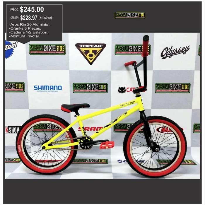 Bicicleta BMX Freestyle OnTrail Nemesis ,cranks, pivotal, masa 9 dientes , cadena medio eslabon KMC