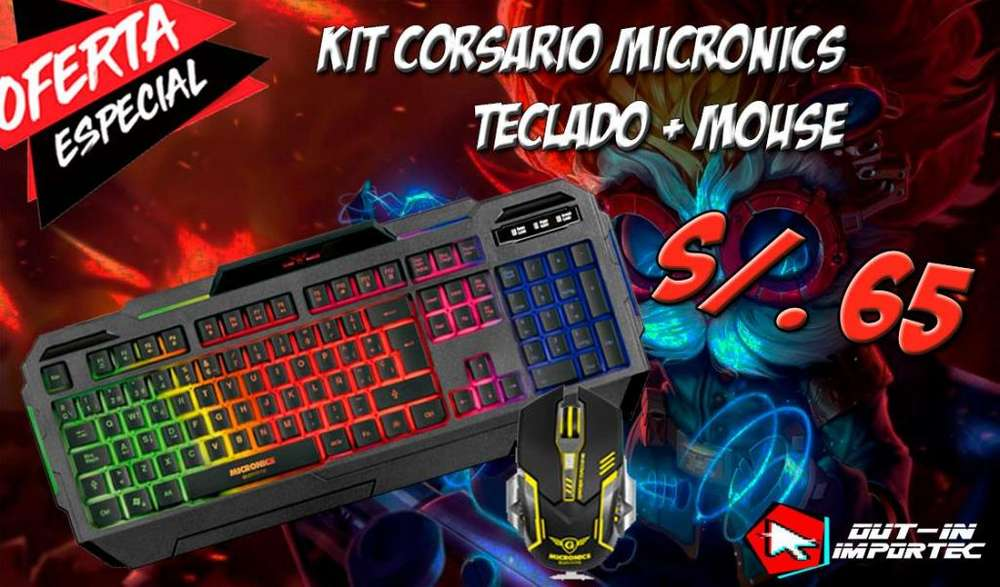 KIT CORSARIO, TECLADO MOUSE GAMING