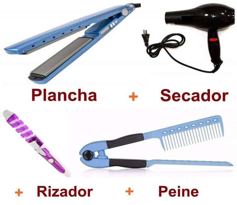 Súper kit para el cabello: plancha, más secador, más rizador, más peine