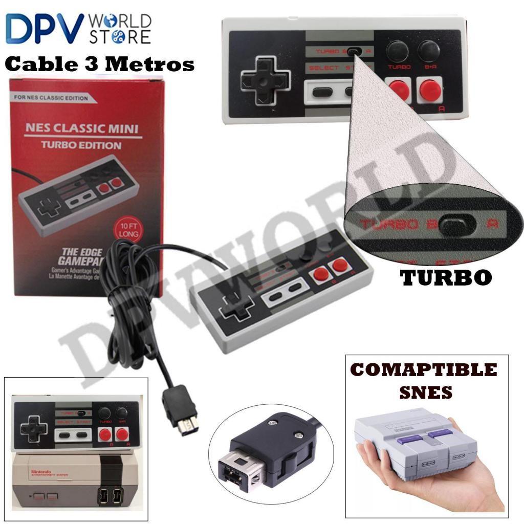Control Tipo Super Nintendo Mini Nes Snes Turbo Edicion Cable 3m Conector Actual