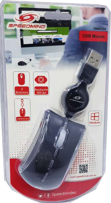 Nuevo Mouse Speedmind usb retractil 3 botones SMMOU04 totalmente sellado