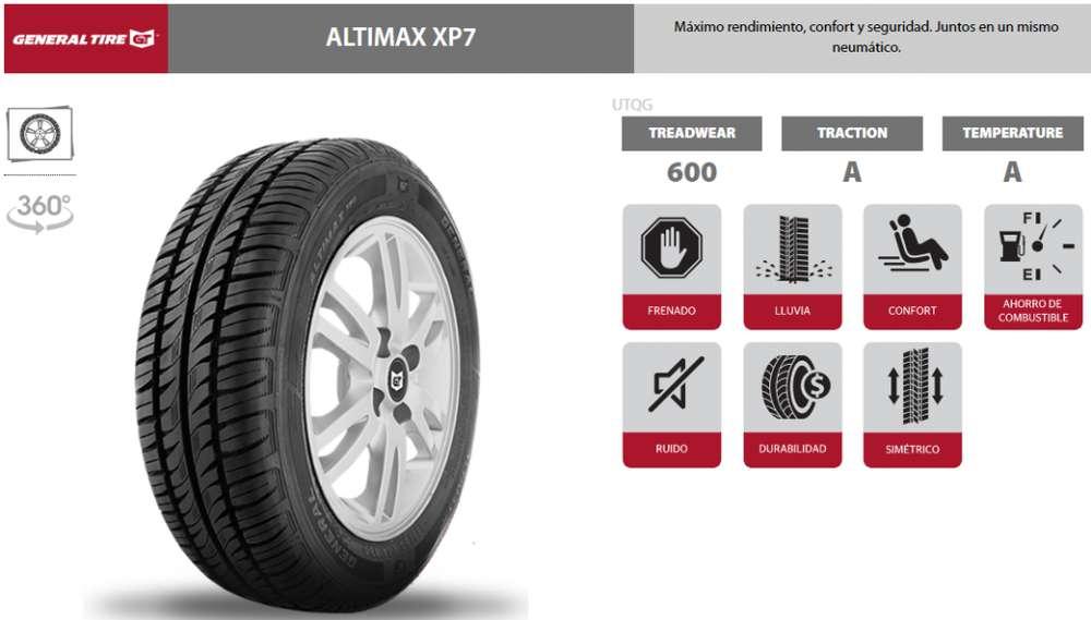MILAGRO LLANTA 185/65R14 MARCA GENERAL TIRE ALTIMAX XP7 PRECIO DE PROMOCION 55 INCLUYE IVA