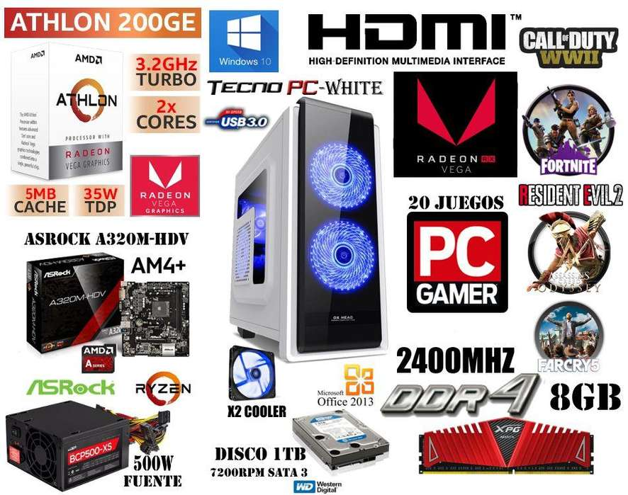 PC GAMER BASIC // NUEVA // Athlon 200GE / DDR4 8GB / 1TB / Vega 3 / 20 juego