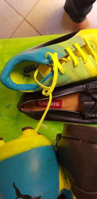 Zapatos Cuero Kickers 35 Botines Puma 34