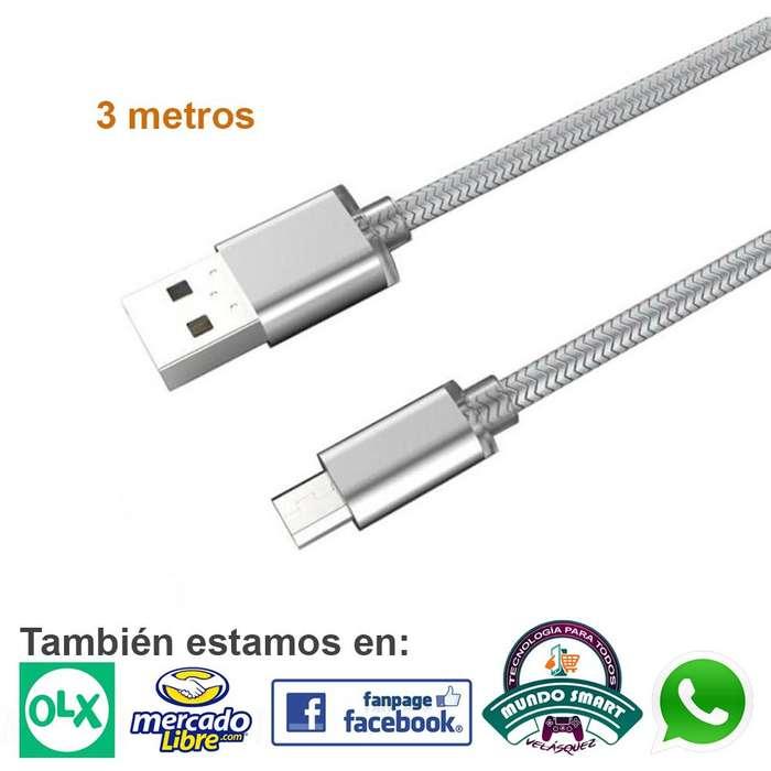 Cable De Datos Micro Usb V8 3 Metros Samsung Huawei Sony