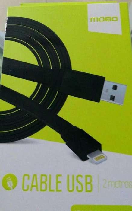 Cable Plano Micro Usb Dos Metros para iPhone Smartphone V8, Lighting Oferta Mobo