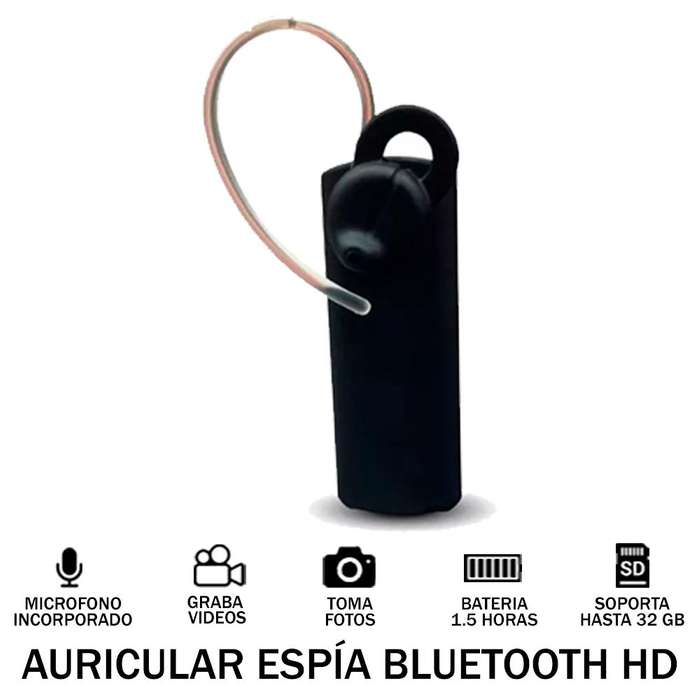 Cámara Auricular Espía Audio Y Video Hd 720p Bluetooh