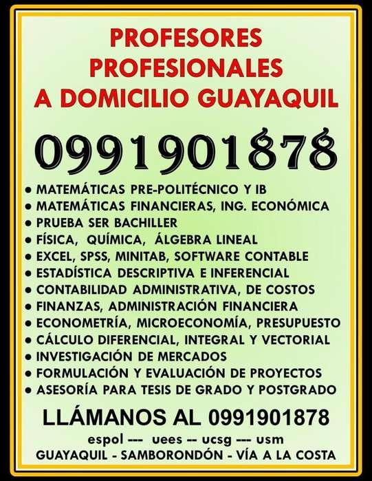 0991901878 CLASES PREPOLITÉCNICO A DOMICILIO MATEMÁTICAS, QUÍMICA, FÍSICA, CONTABILIDAD, ECONOMÍA GUAYAQUIL