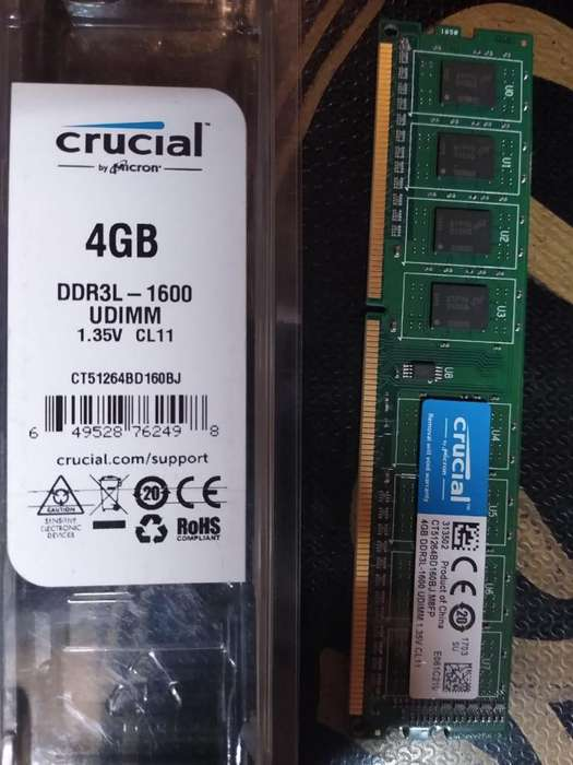 Memoria Crucial Pc 4gb Ddr3l-1600 Udimm Ct51264bd160b