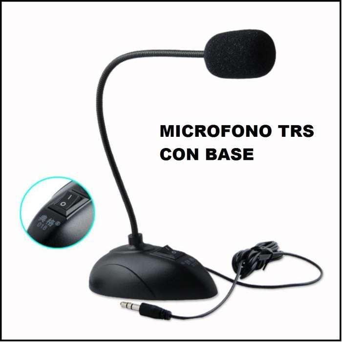 MICROFONO TRS CON BASE FIJA Y BRAZO FLEXIBLE JACK 3,5