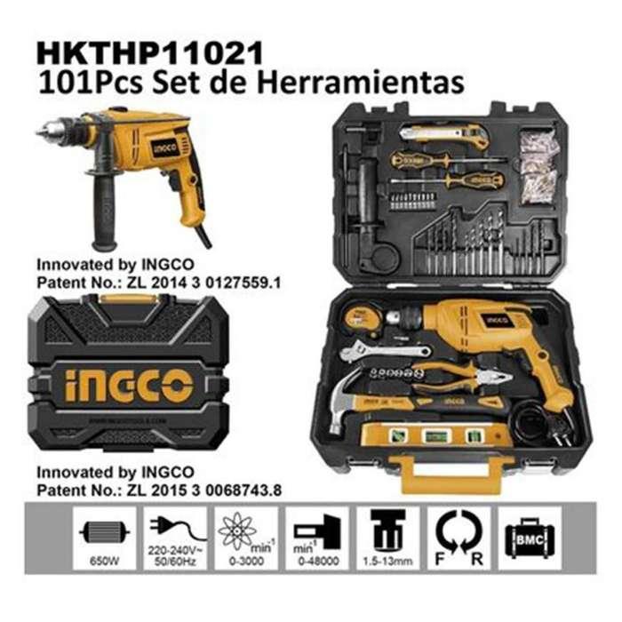 Kit herramientas <strong>taladro</strong> percutor electrico 650W INGCO profesional accesorios cel moto ruta lc pc