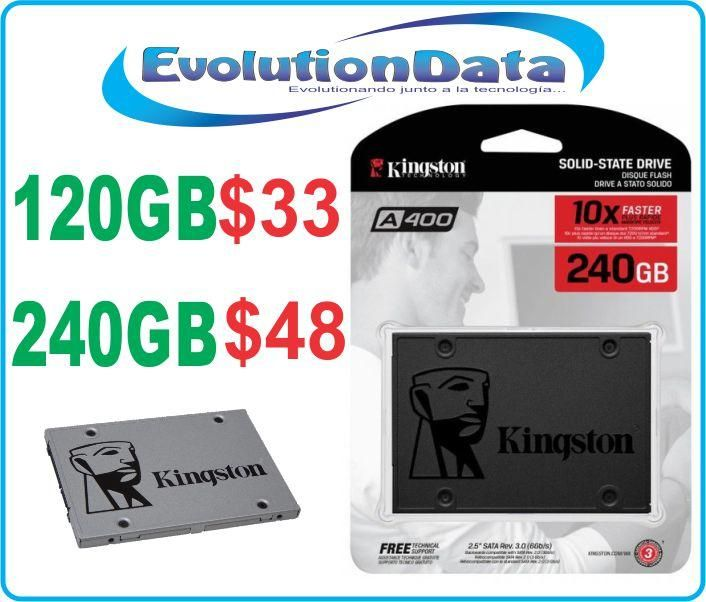 SSD Kingston Disco Duro Solido 120GB 240GB 480GB Kingston A400 Laptop 2.5 EVOLUTIONDATA