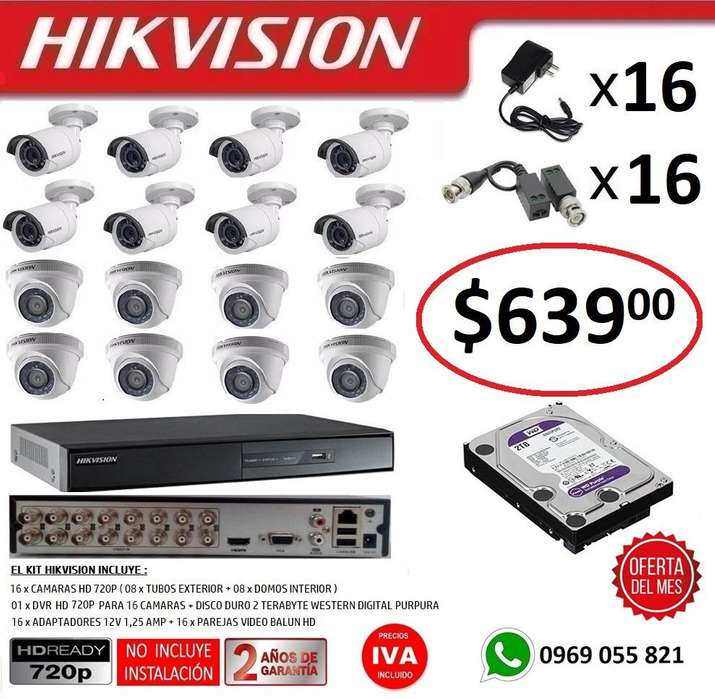 Combo 16 Camaras Seguridad Vigilancia Hd 720p Hikvision DVR16 Camaras 1080P