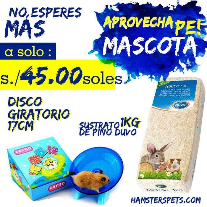 Disco para <strong>hamster</strong> 17cm sustrato de pino duvo 1kg