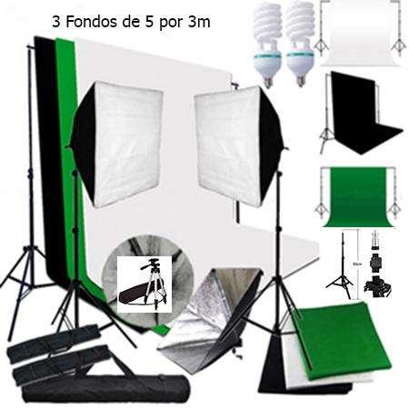 <strong>estudio</strong> Fotográfico Pro 2 Softbox y 3 Fondos 5x3m Canon Nikon