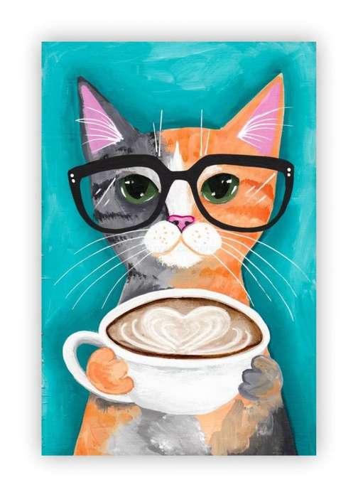 hermoso cuadro de gato con fondo azul 9571